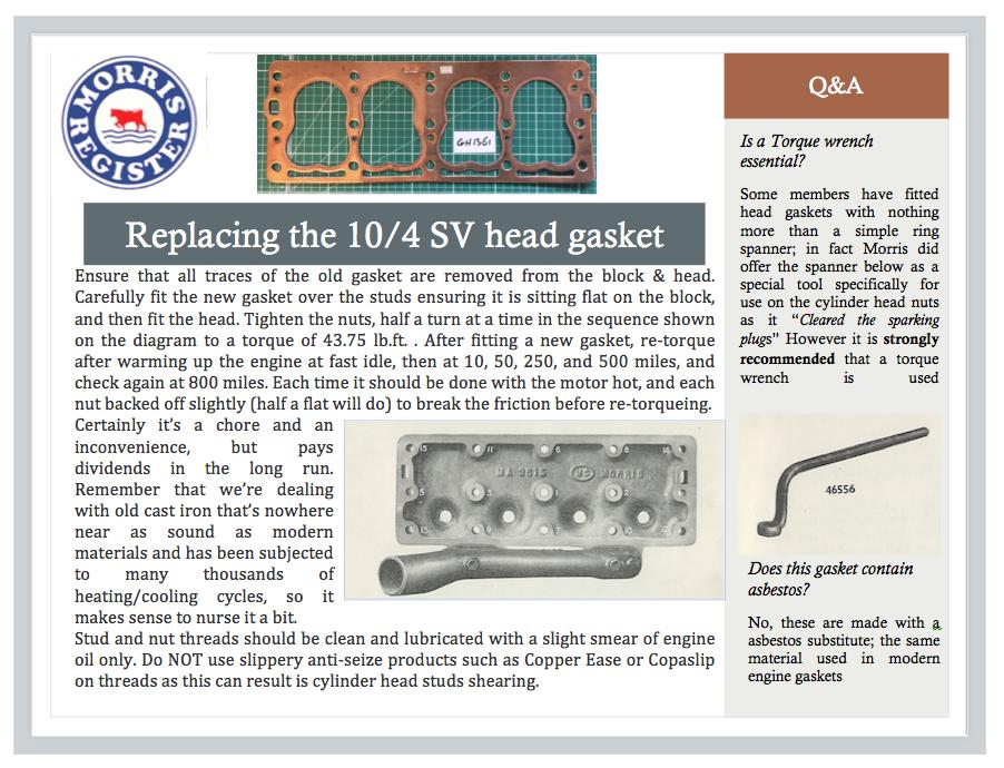 REplacing 10/4 SV Head Gasket